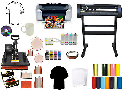 8in1 Heat Transfer Press 28 Vinyl Cutting Plotter Printer Sublimation Ink Bundle