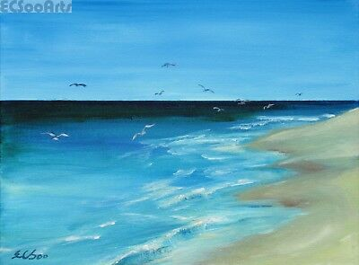 """Original Acrylic Painting of Seascape """"Lone Beach"""", Artist Signed, Unframed, New"""