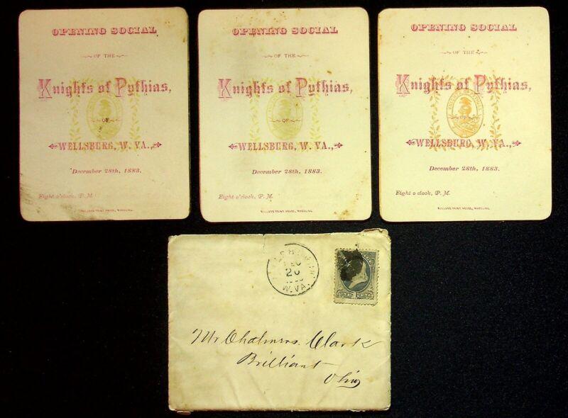 1883 Knights Of Pythias Opening Social Invitations Wellsburg West Virginia