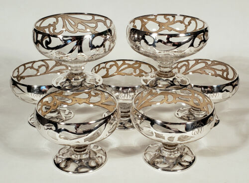 SET OF 7 DELICATE ANTIQUE SILVER OVERLAY CLEAR GLASS FOOTED BOWLS SHERBET DISHES