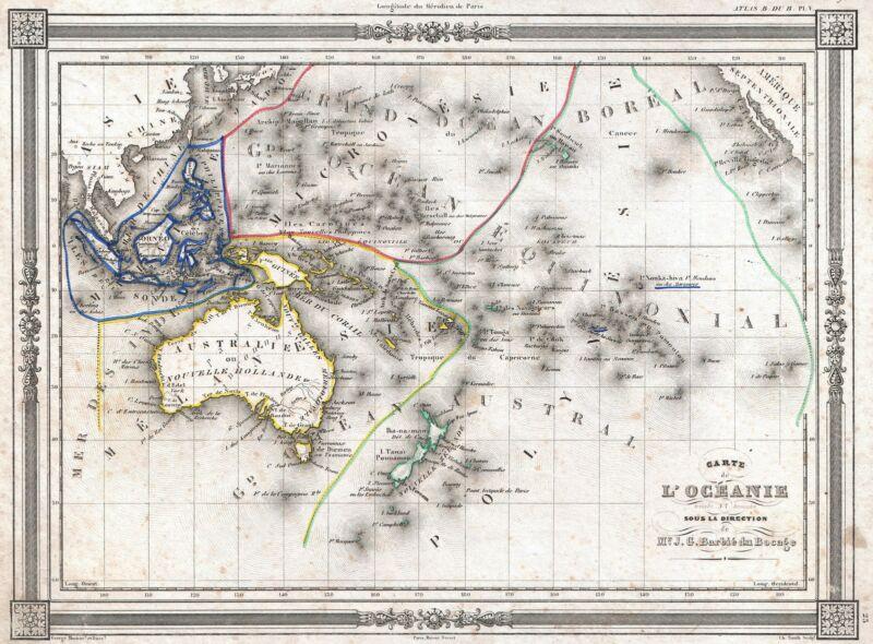 1852 Bocage Map of Australia and Polynesia