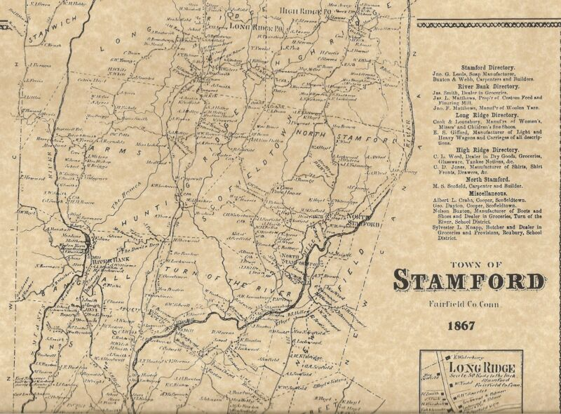 Stamford Long Ridge Shippan Belltown CT 1867  Map with Homeowners Names Shown