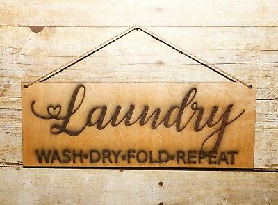 (Wall Art Quote Wood Sign, Laundry, Personalized, Wall Hanging, Home Decor)