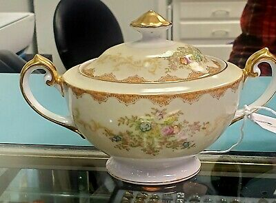 Meito China Dalton Sugar Bowl w/ Floral Sprays-Gold Trim-Japan China Japan Sugar Bowl