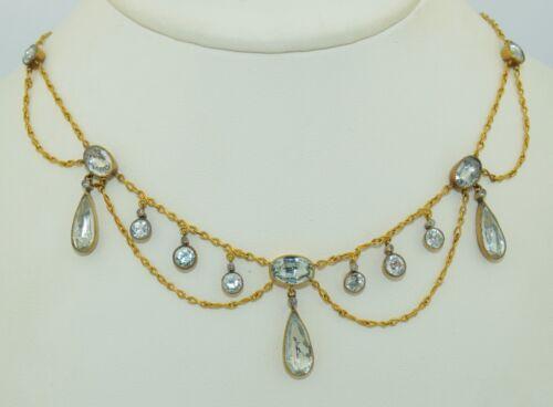 Georgian 18K Aquamarine & Diamond Necklace