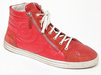 CHANEL Men's Red Sneaker Suede Nylon High Top Silver Zipper HW Sz 44 ()