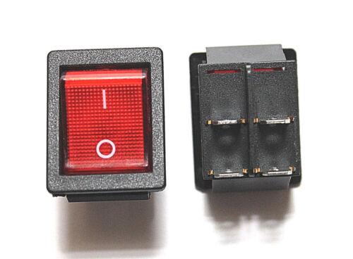 On Off Red Light Rocker Switch 250V AC 16 AMP 125V 20A DPST 4 lug legs