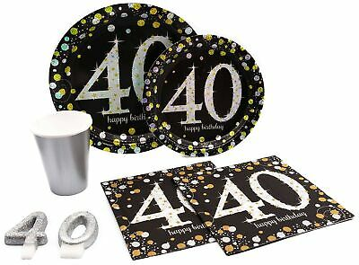 40th Milestone Birthday Paper Plates, Napkins, Cups & Candles Set for 15 (Party Supplies For 40th Birthday)