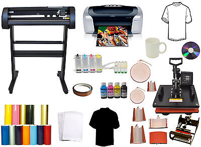 Pro Combo 8in1 Heat Press28 Vinyl Cutter Plotter 500g Lase Printer Sublimation