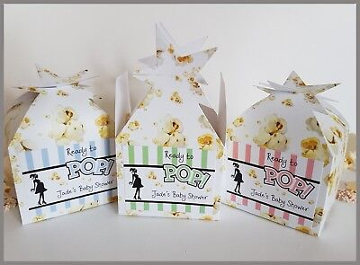 Personalised Baby Shower Favour / Popcorn or Small Cupcake Boxes - Ready to Pop! (Ready To Pop Popcorn Boxes)