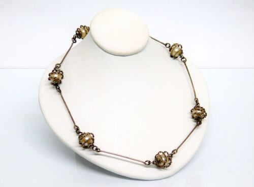 "Antique Italy 800 Silver Faux Pearl Station Bar Necklace 32"" Opera Length"