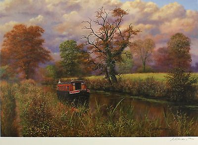 """BILL MAKINSON """"Calm and Serene"""" longboat canal SIGNED! SIZE:50cm x 66cm NEW RARE"""