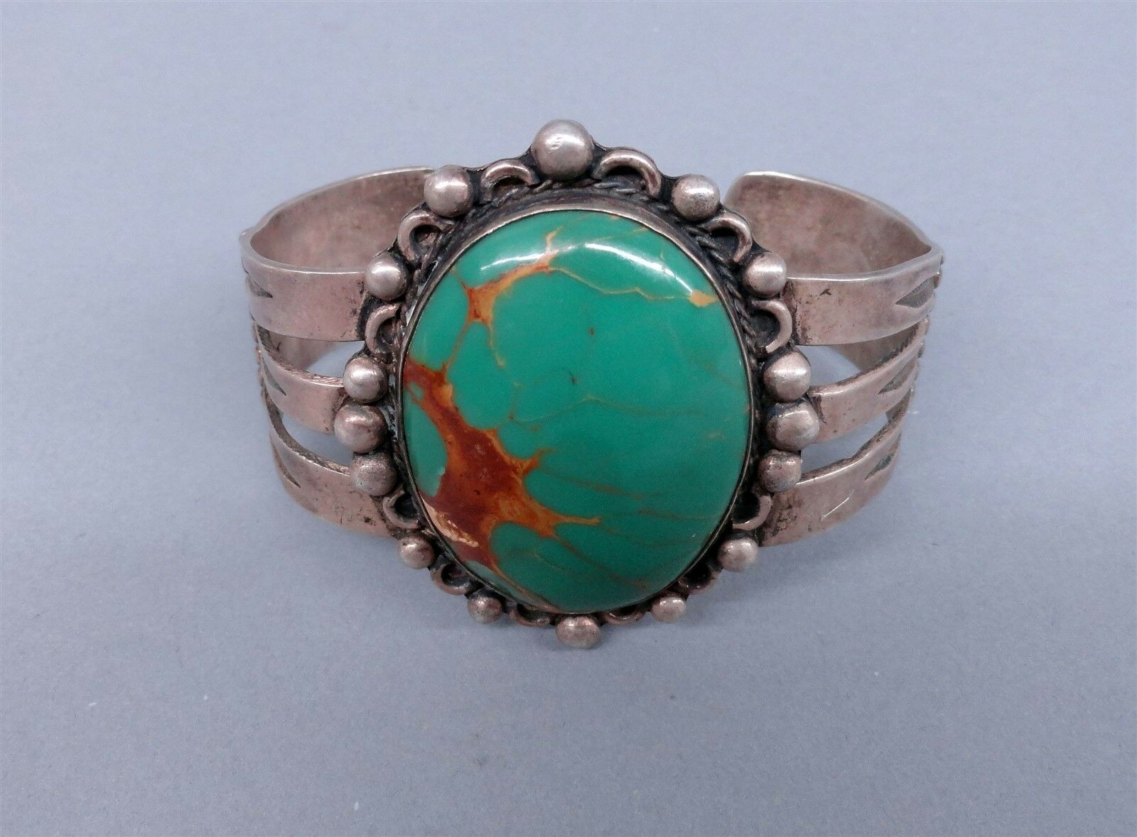 Vintage Fred Harvey Era Navajo Native Dead Pawn Sterling Turquoise Bracelet