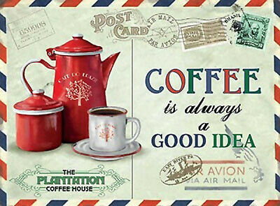 VINTAGE SHABBY STYLE METAL SIGN KITCHEN PICTURE WALL PLAQUE COFFEE RETRO CHIC