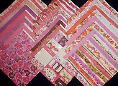 12X12 Scrapbook Paper Cardstock Pink Pizazz Rose Glamour Florals Sweet Girl 24  - Pink Scrapbook Paper
