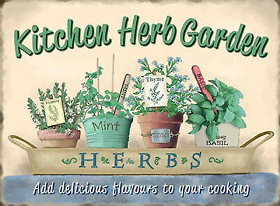 VINTAGE SHABBY STYLE METAL SIGN KITCHEN HERB PICTURE WALL PLAQUE RETRO CHIC GIFT