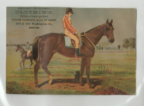 "1880s  MOULTON & BRADLEY CLOTHING VICTORIAN TRADE CARD (6¾"" x 4½"")"