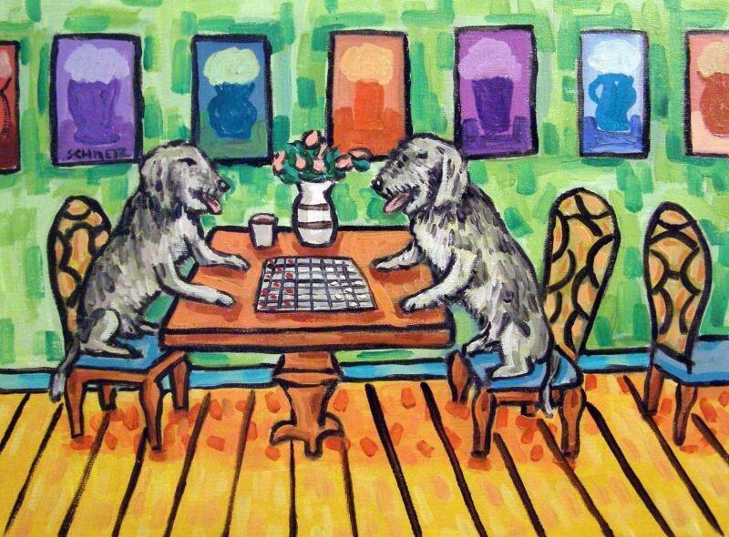 IRISH WOLFHOUND art dog  abstract folk pop ART  13x19 checkers GLOSSY PRINT