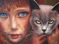 Poster A3 Pintura Mujer Gato Animal Painting Woman Cat -  - ebay.es