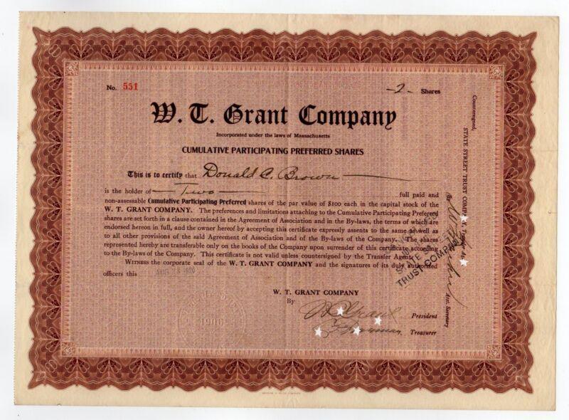 William T. Grant - W. T. Grant Company Stock