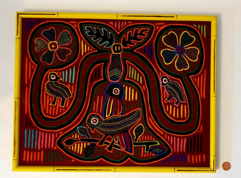 Mola had-sewn cloth, Panama Kuna Indian Art, birds and flowers design and frame