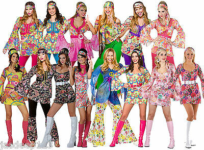 Womens Ladies Hippie Hippy Fancy Dress Costume Outfit 60s 70s Retro Groovy Flare (Hippie Dress Costume)