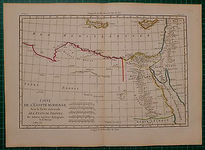 1781 DATED RIGOBERT BONNE MAP ~ MODERN EGYPT TRIPOLI NUBIA NILE ARABIA HEPTANOMI