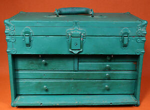 Antique vintage ~ MACHINIST TOOL BOX CHEST ~ Union?  not Kennedy ~ restore~parts