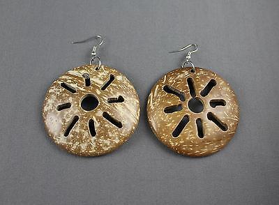 "Brown earrings plastic shell cut out medallion disc sun burst pattern 3"" long"