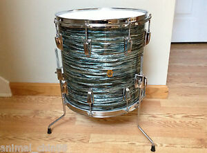 Ludwig 60s Vintage 14x14 Floor Tom Original Blue Oyster Pearl Downbeat Excellent