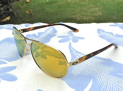Nice Oakley Polarized Feedback Sunglasses Gold Tortoise Frames 24K Gold Lens