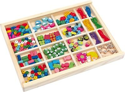 Fädelbox Vivien in Holzbox Holz Perlen Gummibänder Fädelspiel Bunt Kette Armband