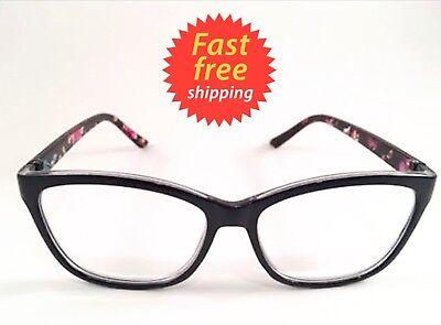 Betsey Johnson Reading Glasses Black Face Floral Legs Retro Style +1.50
