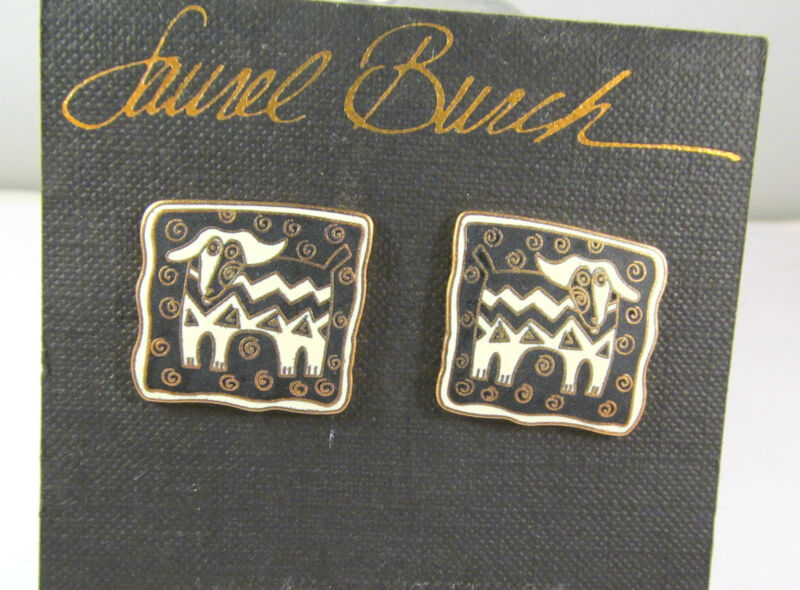 Laurel Burch Matte Finish Papillon Dogs Beige Black Enamel Sq Earrings Vintage