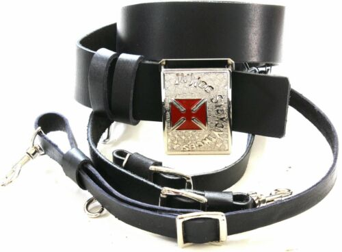 KNIGHTS TEMPLAR  BLACK Sword Belt/Buckle For Sir Knight Size 44 SILVER/RED