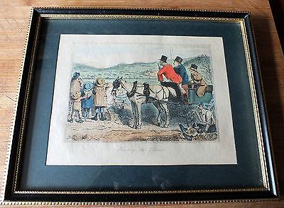 "Vintage framed Print after John Leach "" Hunting the Hounds """