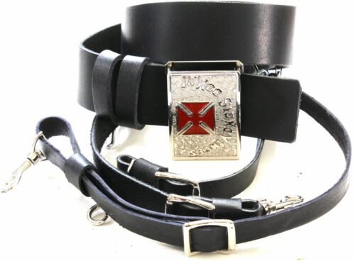 KNIGHTS TEMPLAR  BLACK Sword Belt/Buckle For Sir Knight Size 48 SILVER/RED
