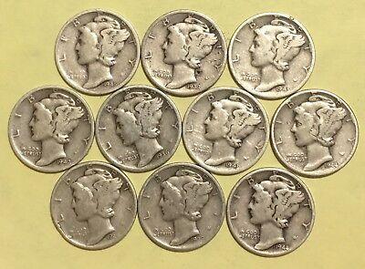 Lot of Ten (10) SILVER Mercury Dimes, 1930s & 1940s
