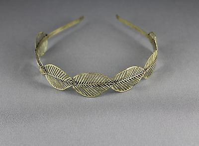 bronze leaf headband hair band cut out filigree metal leaves leaf crown