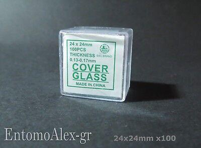 scatola x100 coprivetrini 24x24mm microscopio copri vetrini campioni LABORATORIO