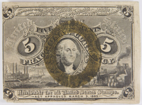 FR 1233 Fractional Currency 2nd Series Washington 5 Cents 5c