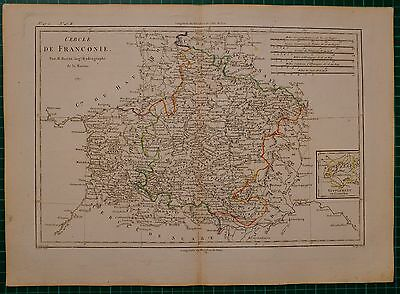 1787 DATED RIGOBERT BONNE MAP ~ FRANCONIE BAMBERG HAND COLOURED