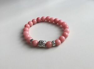 Pink Rhodonite Lucky Buddha Bracelet Natural Stone Silver Detail - Heart Chakra