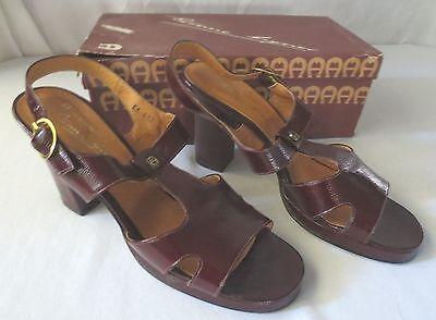 Etienne Aigner Leather Shoes Sling Back Sandle 8.5 Narrow VINTAGE Italy EUC