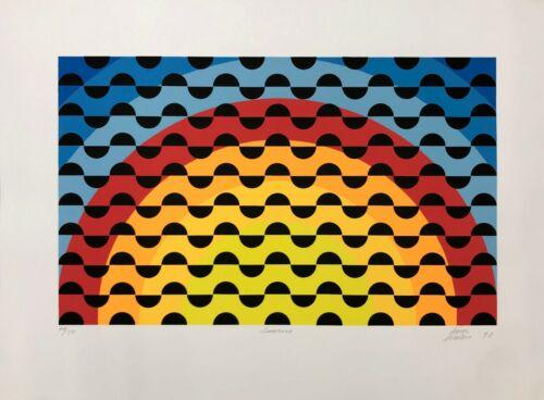 "Antonio Perez Melero ""sunrise"" 1990 | Signed Serigraph Abstract Op Art | Gallart"