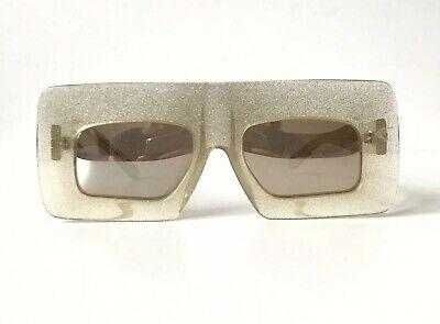 KAREN WALKER 'Enlightened' Gold Glitter Chunky Rectangular Mirrored Sunglasses