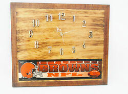 NFL Cleveland Browns Ohio State Rare Wood Quartz Wall Clock-13 1/2 X 11 1/2