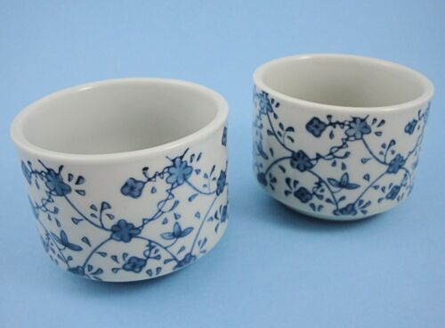 2 Blue White Japanese Tea Cups Karakusa Floral Vine Teacups Sake Porcelain 8 oz