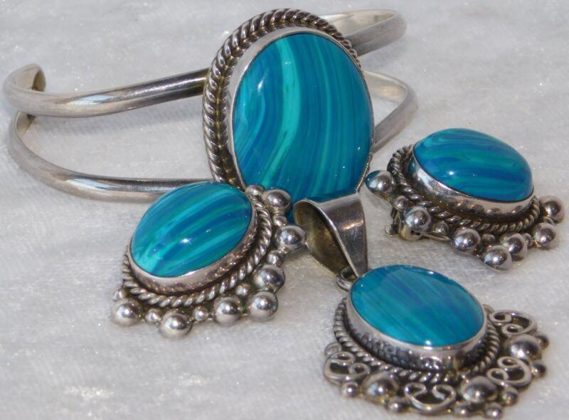 VTG MEXICO BLUE STONE STERLING SILVER BRACELET EARRINGS PENDANT SET