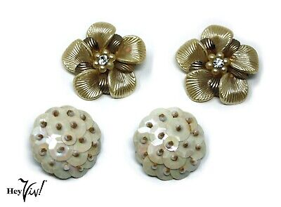 Pearly Sequin & Flowers - Vintage 50s Clip On Earrings - 2 Pair - Hey Viv - 50s Couple Costumes